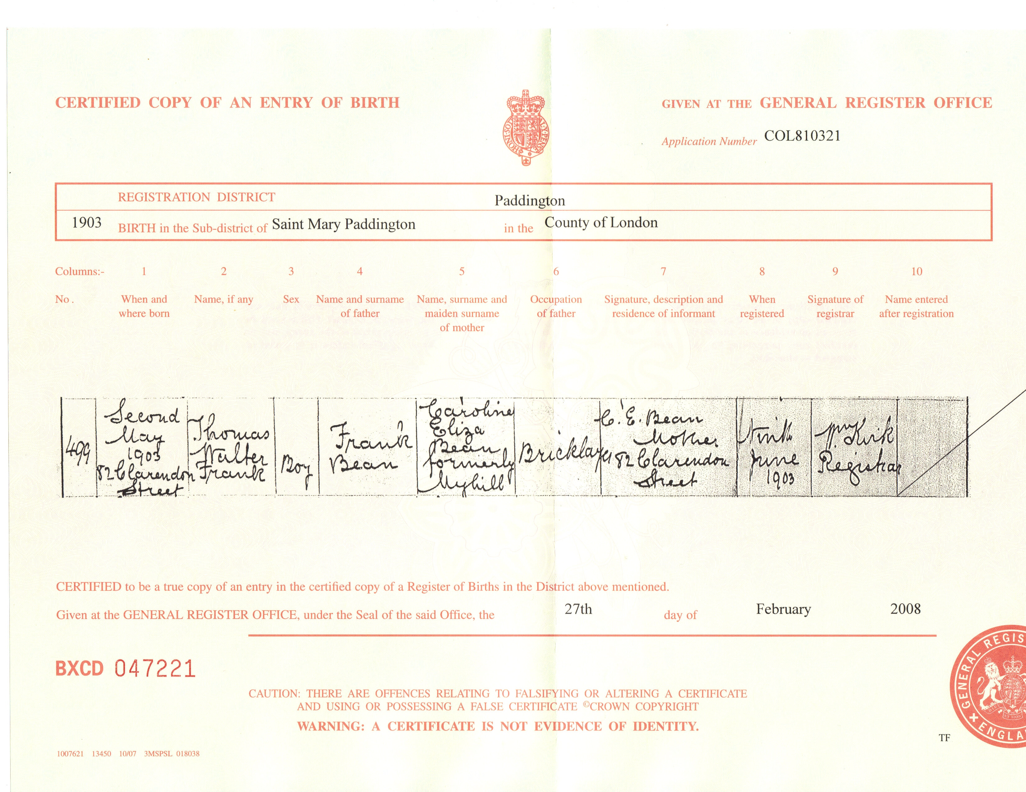 Certified copy of an entry of birth bean thomas walter frank 1903 birth certificate aiddatafo Choice Image