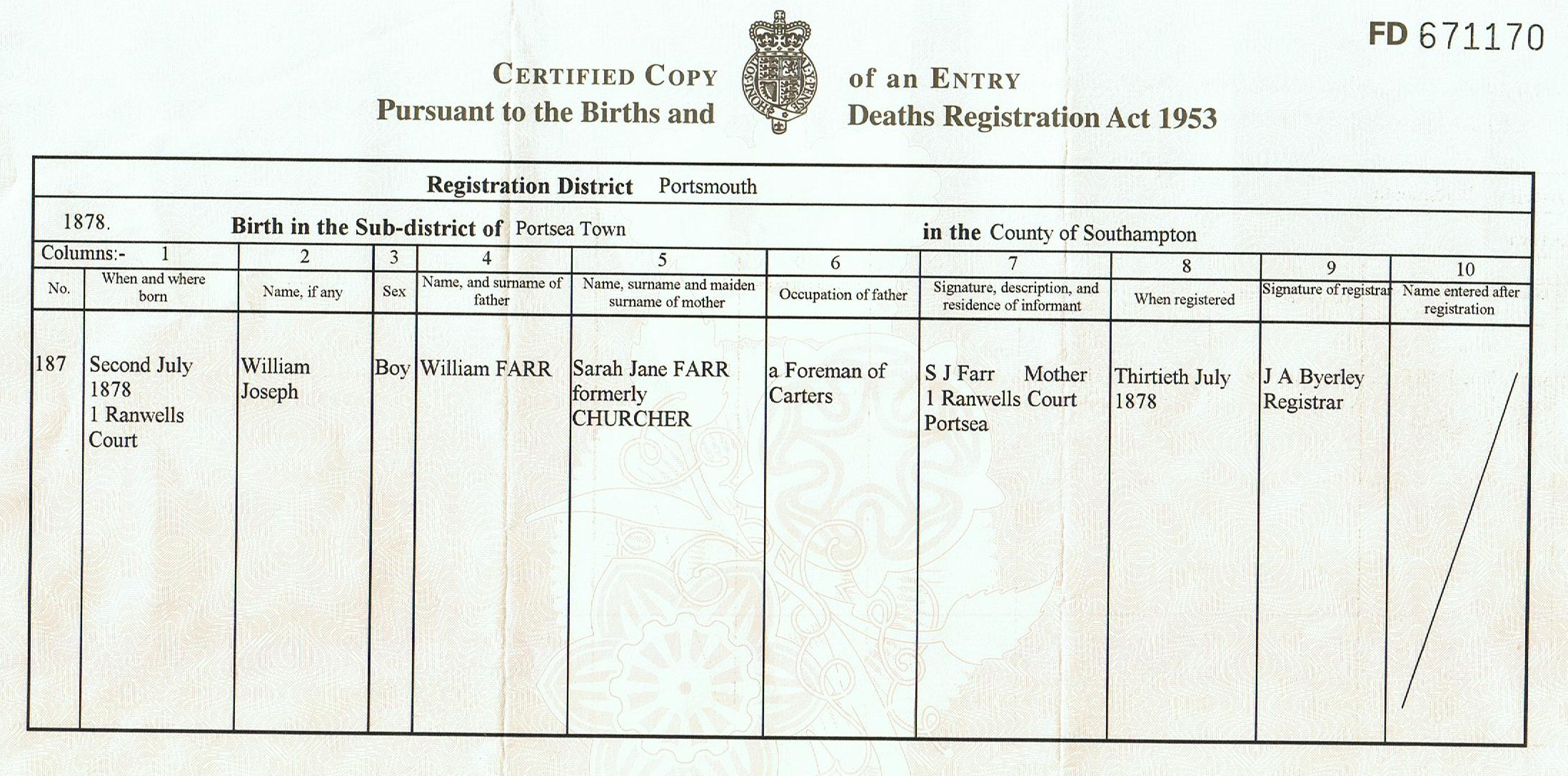 Certified copy of an entry of birth farr william joseph 1878 birth certificate aiddatafo Gallery