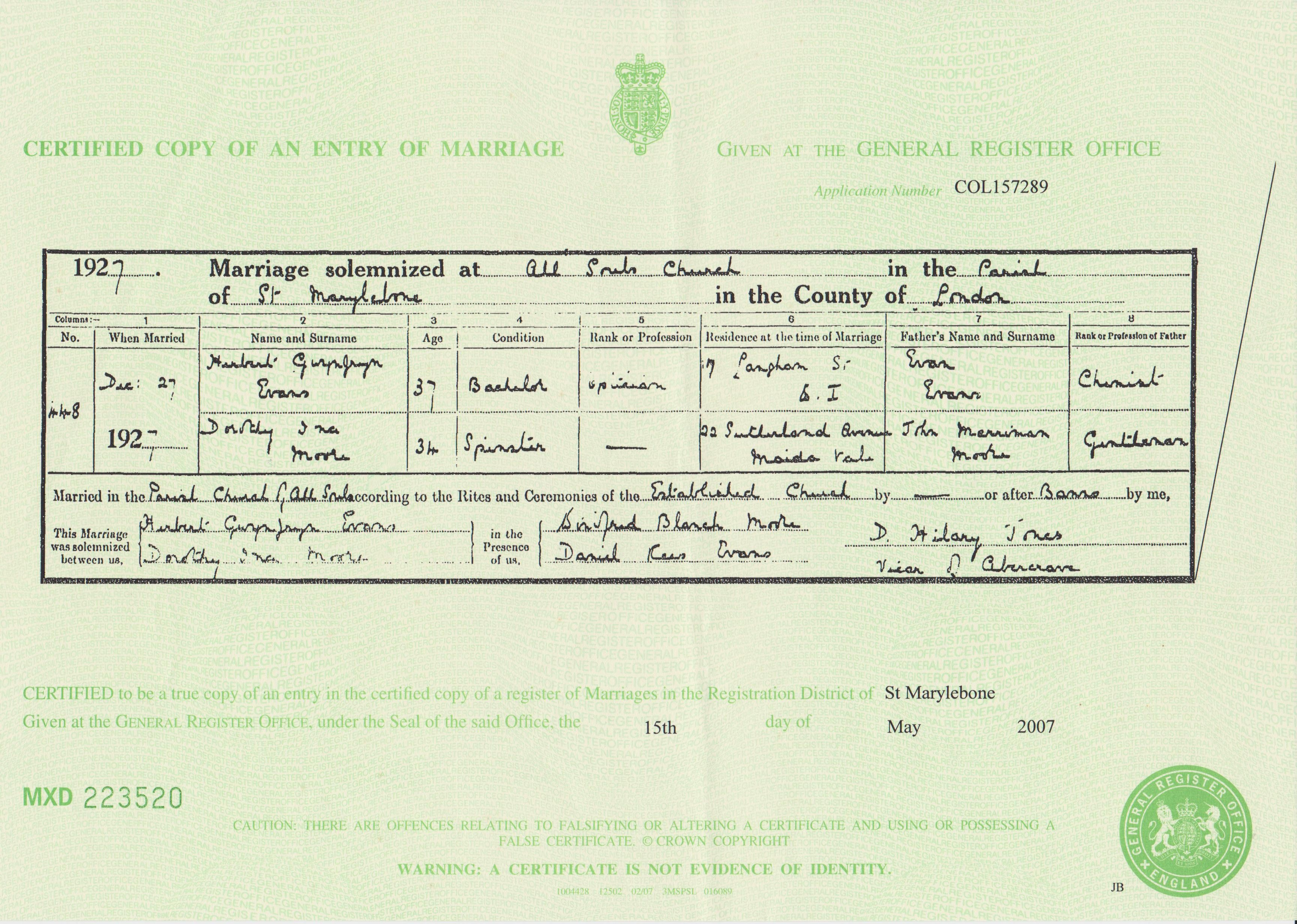 Certified copy of an entry of marriage herbert gwynfryn evans dorothy ina moore 1927 marriage certificate xflitez Gallery