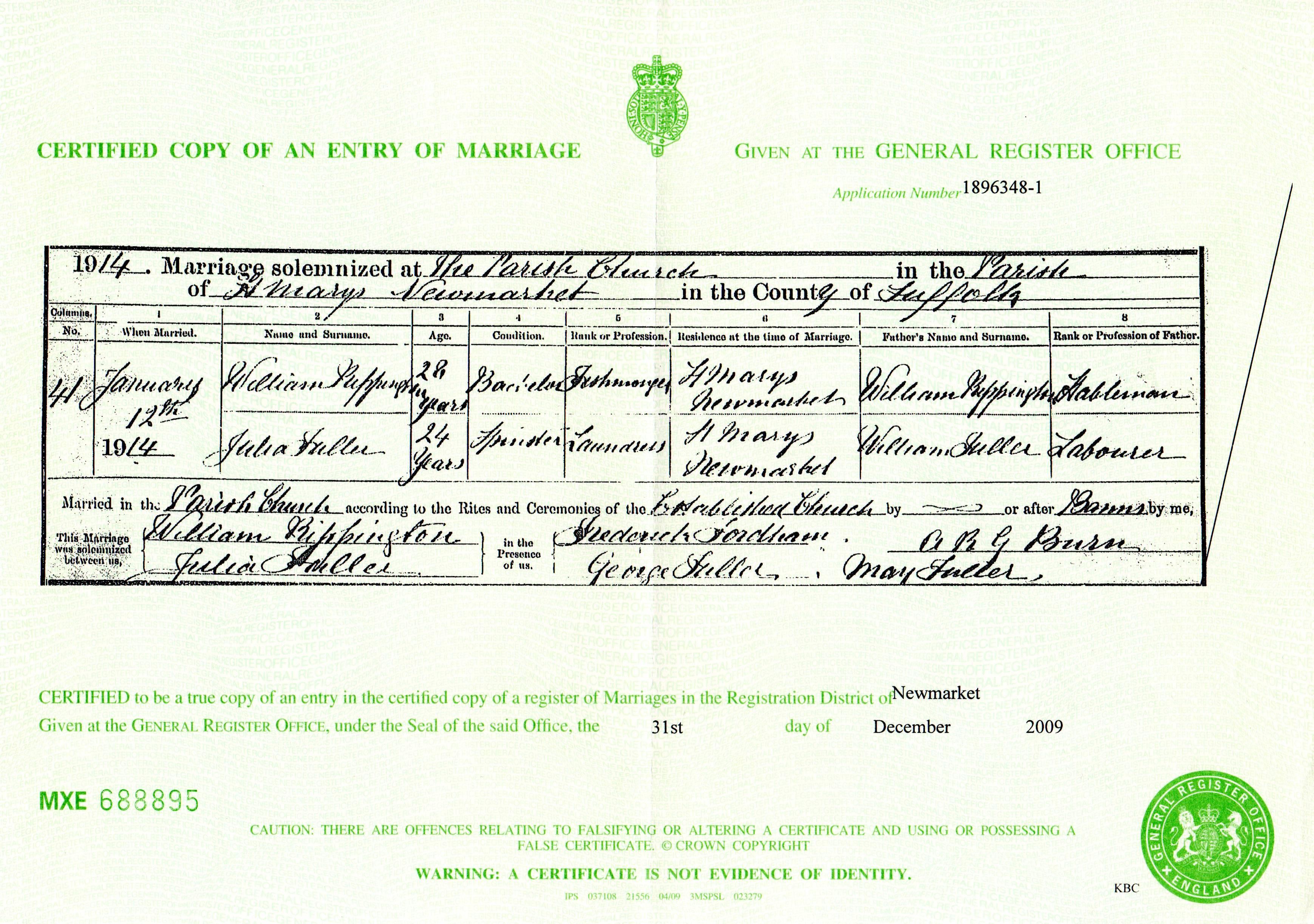 Certified copy of an entry of marriage rippington william fuller julia 1914 marriage certificate xflitez Gallery